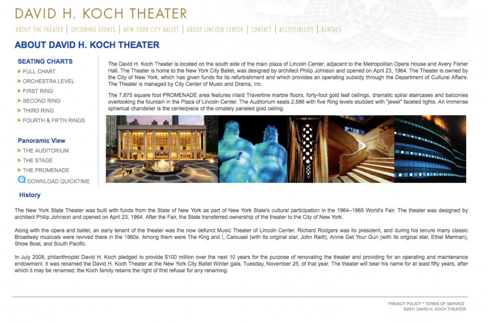 David h koch theater brand bean for Koch website